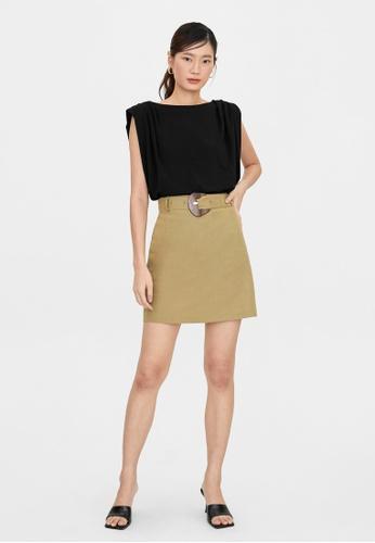 Pomelo green High Waist Belted A Line Skirt - Green 2D149AAD3FBADEGS_1