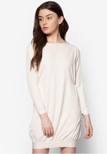 素色寬版長袖連身esprit台灣outlet裙, 服飾, 正式洋裝