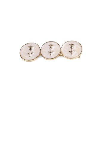Glamorousky silver Fashion Simple Plated Gold Flowers White Geometric Round Hair Clip 8B5A1AC1DD2957GS_1