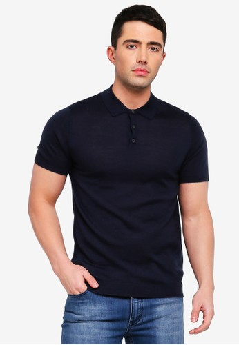 Selected Homme navy Thom Merino Polo Shirt 3A6A8AA6534412GS_1