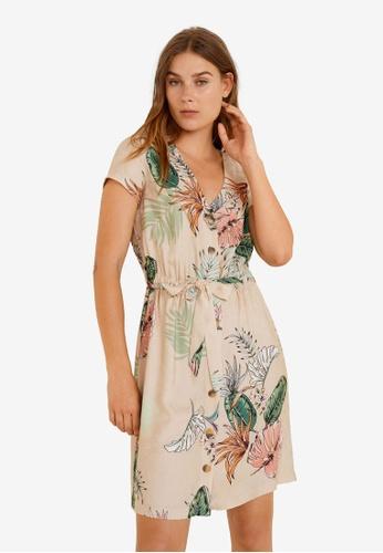 Mango beige Leaf Print Dress A116CAAC3597E7GS_1