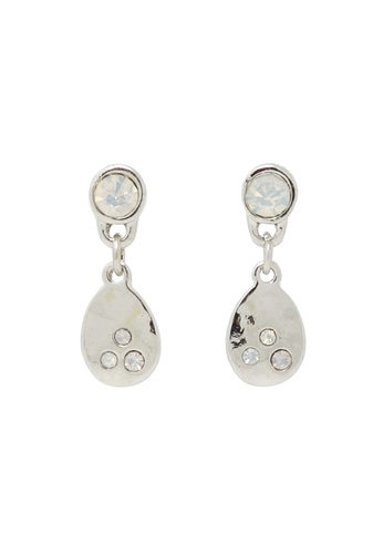 Jaysa Collection silver Hammered Silver plated Drop Earrings with White Rhinestones JA875AC87LXOSG_1