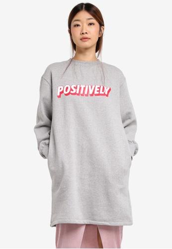 Stylenanda grey Positively Text Cropped Sleeve Sweatshirt ST343AA0SXJEMY_1