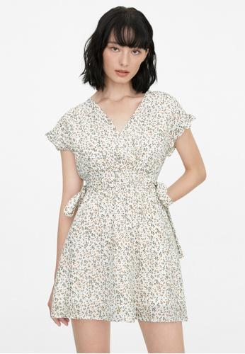 Pomelo white Surplice Neck Floral Dress - White 49E1BAA28368C3GS_1