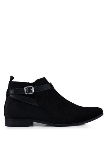 Topman black Black Faux Suede Fisco Buckle Boots F7FD6SH0D6D628GS_1