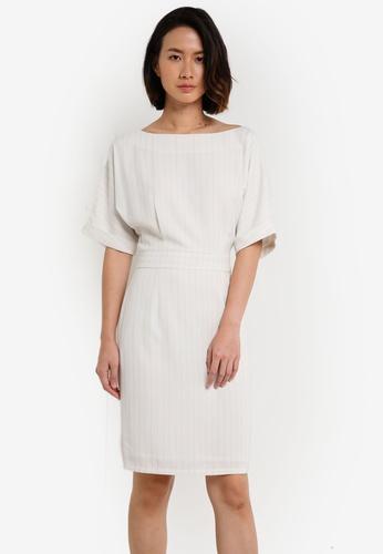 ZALORA white and multi Belt Batwing Dress CB1B5AAB04251EGS_1