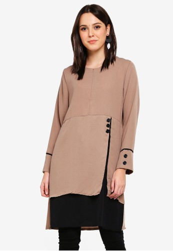 BYN brown Piping Detail Blouse 67DF3AA1BDB1A3GS_1