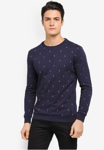 JAXON navy Flamingo AOP Sweatshirt 1A7DDAAC74533AGS_1