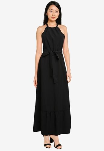 ZALORA BASICS black Halter Neck Tiered Dress 10C9BAA7A0D7C9GS_1