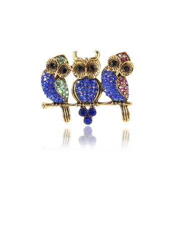 Glamorousky blue Fashion and Cute Plated Gold Owl Brooch with Blue Cubic Zirconia 97BA0AC5CF251AGS_1