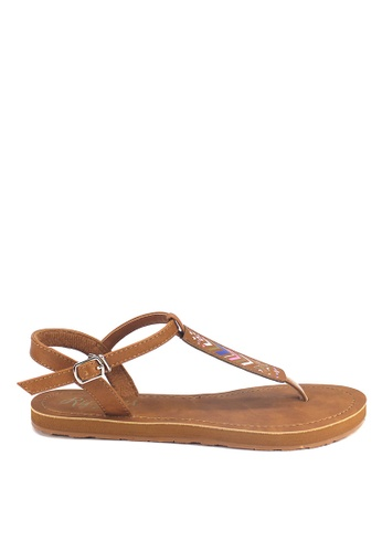 Ripples brown Arika Aztec Slide'N'Style T-Bar Sandals RI425SH33UXQSG_1