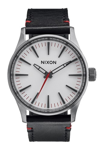 Nixon black SENTRY 38 LEATHER GUNMETAL WHITE 67F21ACA31C0A2GS_1