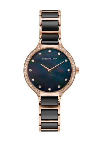 BCBG black BCBGMAXAZRIA Rose Gold and Black Watch B5D85AC19D0A0AGS_1
