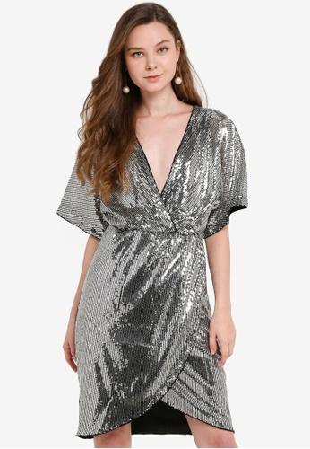 JACQUELINE DE YONG silver Pixie Half Sleeves Wrap Dress 200FEAA083683DGS_1