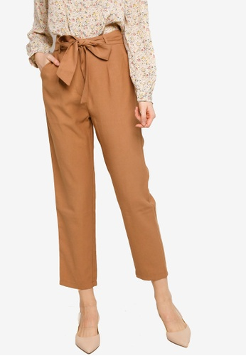 ZALORA WORK brown Tie Waist Peg Leg Long Pants E2111AA2B9CF93GS_1