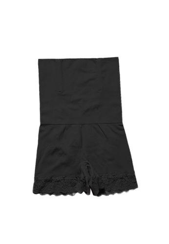 YSoCool black High Waist Shaping Lace Trim Safety Shorts Underwear 93F4FUSA0BD8BFGS_1