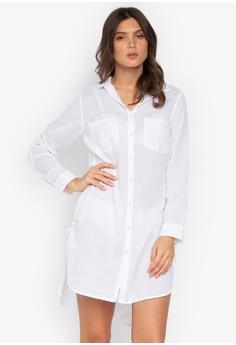 67862e6277 MARKS   SPENCER white Pure Cotton Long Sleeve Beach Dress 889C5US5B0EBF6GS 1