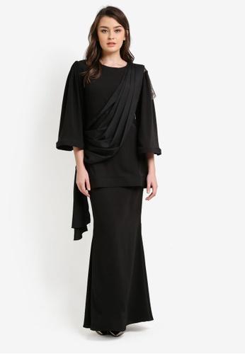 Zuco Fashion black Chiffon Midi Kurung ZU882AA0RUJQMY_1