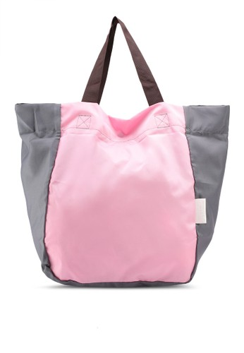 Bagstationz pink Colour Block Foldable Shopping Bigbag D56B6AC876CC7FGS_1