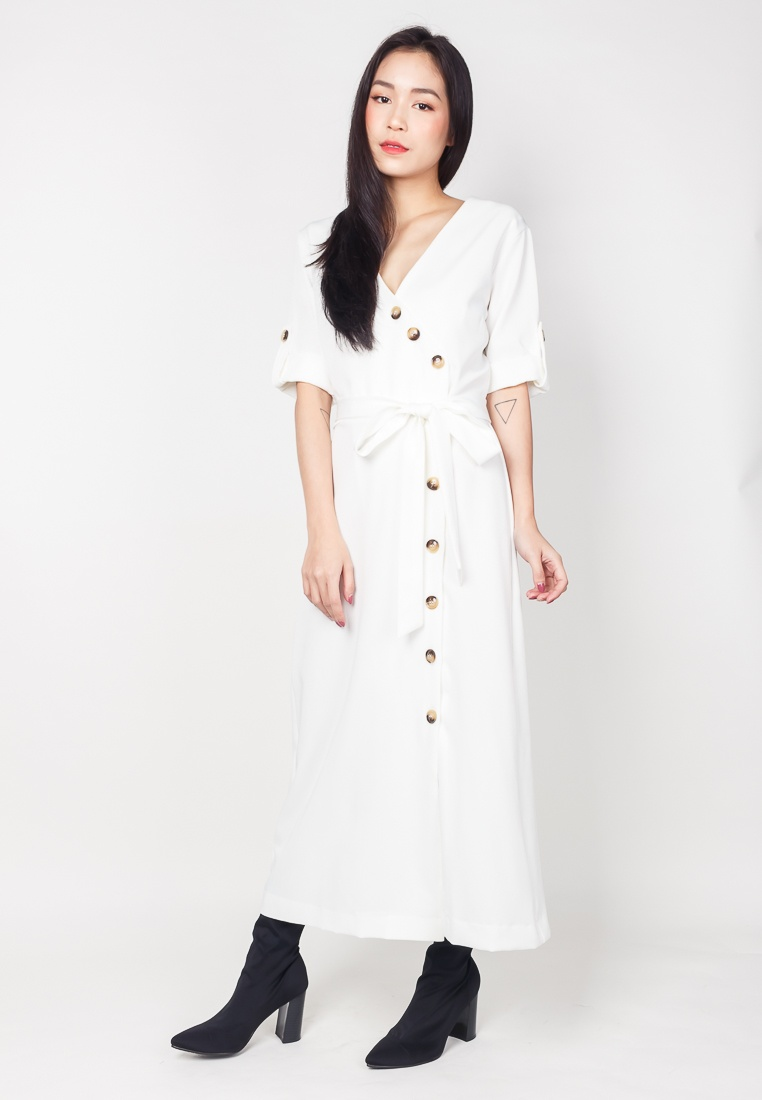 Midi Dress white Buttons Edition DELIA White 2nd With In fgdwO6qT