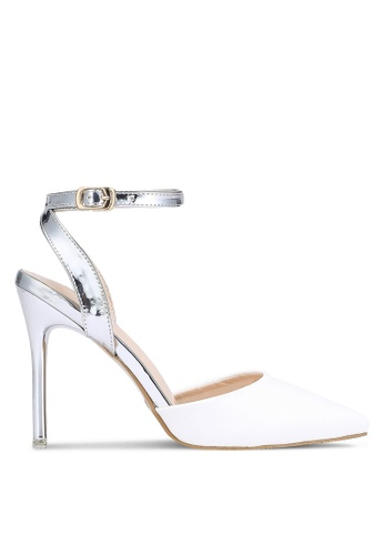 Velvet white and silver Metallic Ankle Strap Heels DB738SHFE6ED5BGS_1
