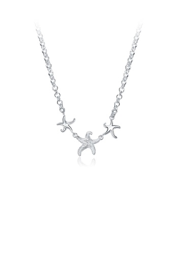 Glamorousky silver Simple and Fashion Starfish Necklace B7230AC7801B2EGS_1