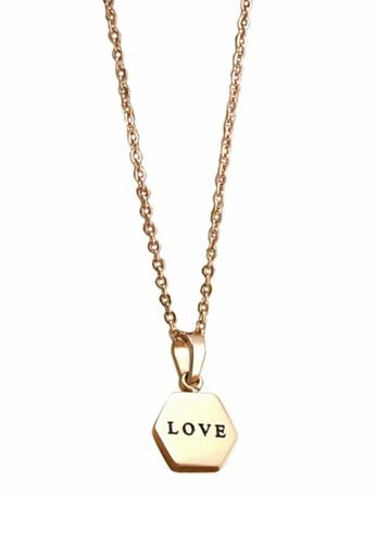 YOUNIQ gold YOUNIQ Honeycomb Love 14K Plated Titanium Necklace (Rosegold) YO999AC37SFEMY_1
