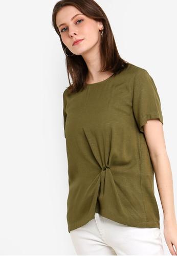 ZALORA 綠色 前扭結短袖上衣 43293AADFF490DGS_1