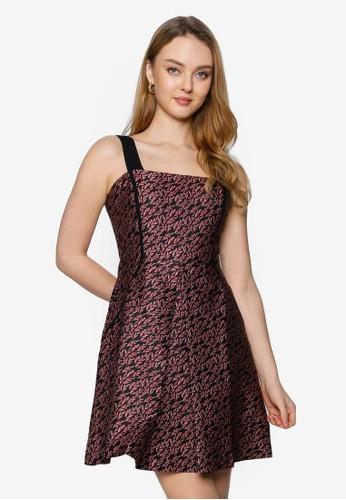 Saturday Club red Strappy Printed A-line Dress 85C00AA8A39EADGS_1