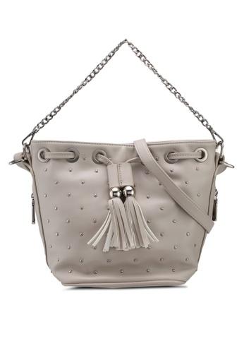 Nose grey Gold Studded With Fringe Shoulder Bag BD227AC0C66270GS_1