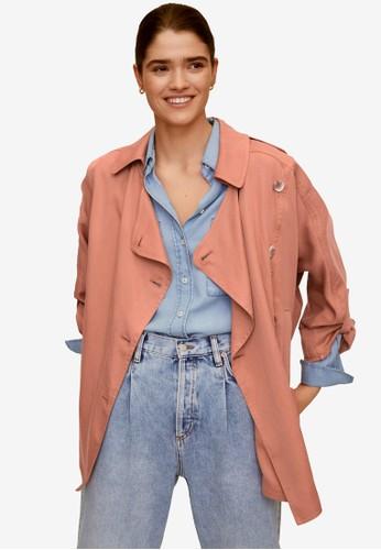 Mango pink Linen Lyocell Trench Coat 28CC2AA5192DC8GS_1