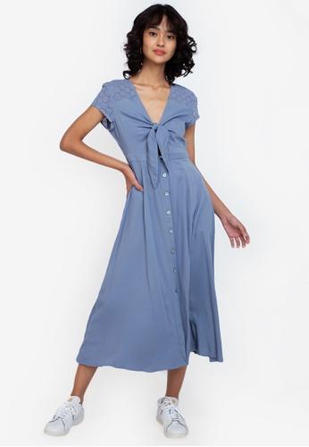 ZALORA BASICS blue Broderie Detail Knot Front Midi Dress 99748AA1A1F669GS_1
