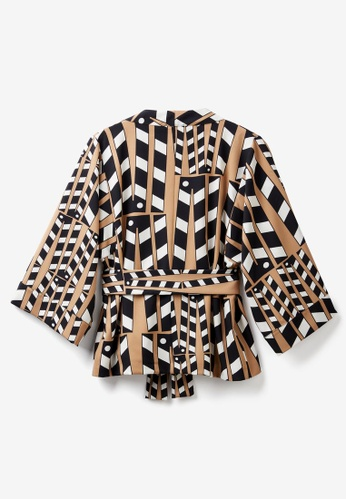 United Colors of Benetton 褐色 駝色幾何造型開襟上衣 4D981AAAE41556GS_1