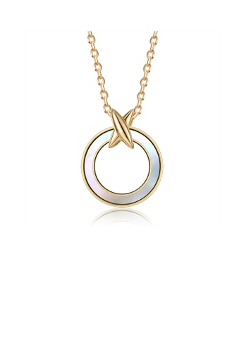 Glamorousky silver 925 Sterling Silver Plated Gold Cross Geometric Circle Pendant with Necklace 15414AC1D419F5GS_1