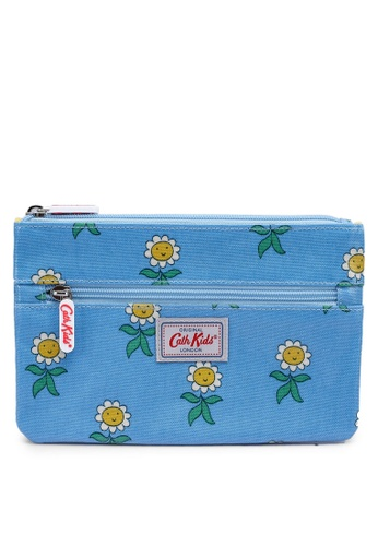Cath Kidston grey and blue Petal Flowers Kids Zip Pencil Case EAB56KCB07B92BGS_1