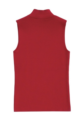KLAPS red High Neck Top 733F2AA03A639FGS_1