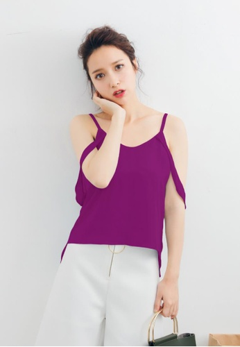Shopsfashion purple Liana Cold Shoulder Blouse in Purple SH656AA72MULSG_1