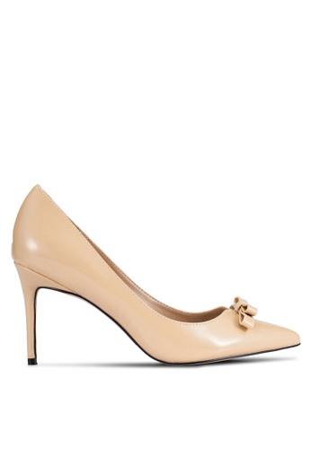 Velvet beige Faux Patent Finish High Heels 8293FSH82CA023GS_1