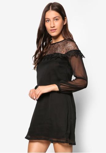 zalora premium lace yoke shift evening dress black