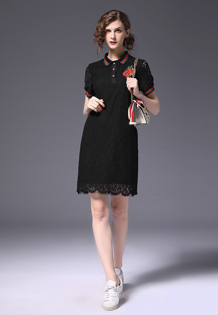 2018 Dress piece Sporty New Sunnydaysweety Lace Black A052222BK One black pCwgqp7