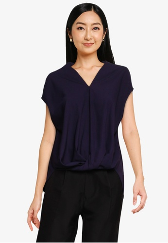 The Duo navy Twisted Crepe Top C56B2AA34F0C3AGS_1