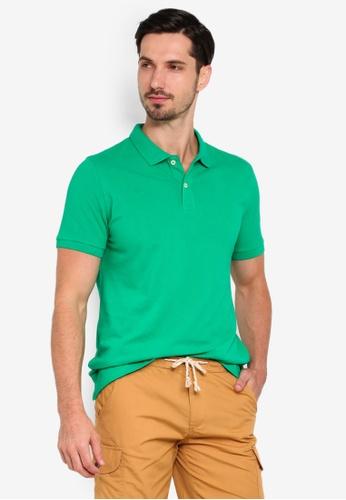 OVS 綠色 基本Polo 襯衫 40B58AACE1BD8DGS_1