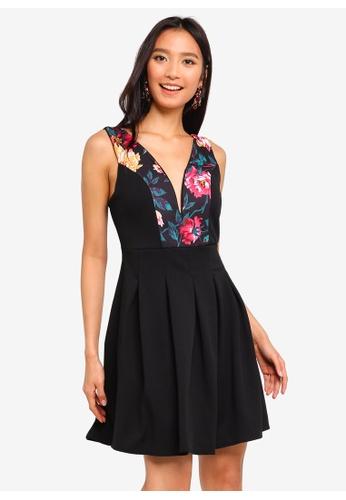 WALG multi Floral Plunge Skater Dress ABC76AA8FFD88FGS 1 bd86f6ac2