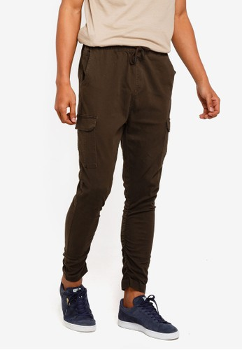 Brave Soul green Cotton Twill Slim Cargo Pants 32017AAB3F4764GS_1