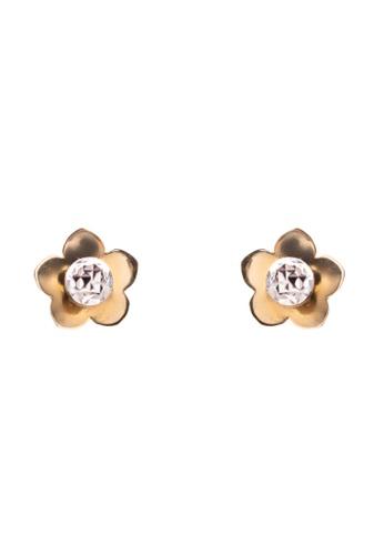 Lavaliere Jewelry Shop gold Flower With Ball Inside Earrings LA066AC55ZHSPH_1
