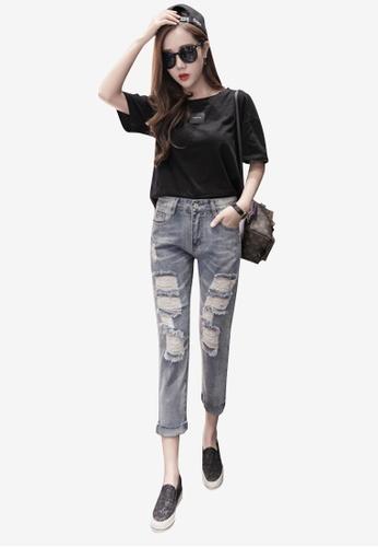 Lara 藍色 女裝破洞牛仔褲 CE5BEAA1DD18D6GS_1