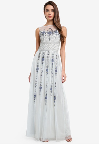 Frock and Frill blue All Over Embellished Maxi Dress 1D97FAA141EDD6GS_1