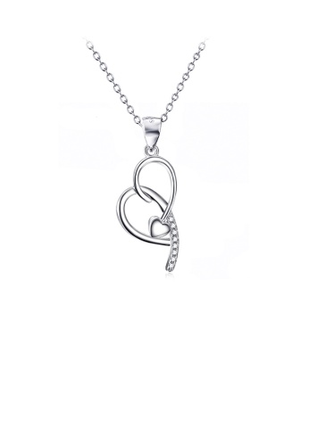 Glamorousky white 925 Sterling Silver Fashion Simple Arrow Double Heart Pendant with Cubic Zirconia and Necklace 21267ACF0AD40BGS_1