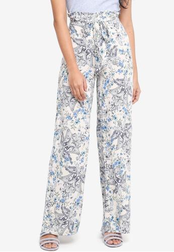 1309682edcf Miss Selfridge beige Frankie Paisley Wide Leg Trousers E9409AA99A17C4GS 1