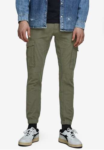 Jack & Jones green Paul Cuffed Cargo Pants 390E3AA7BD8E35GS_1